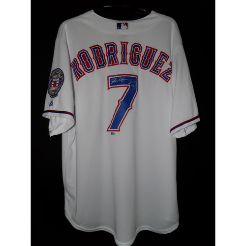 "Photo of Ivan Rodriguez Autographed Home White Texas Rangers Jersey Inscribed With ""#7 HOF 17"""