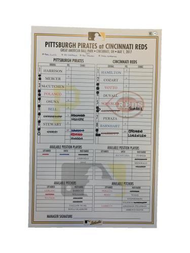 Photo of Replica Lineup Card from Pirates vs. Reds on 5/1/17 - Harrison 2 HRs, McCutchen HR