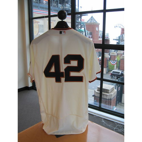 Photo of San Francisco Giants - Game Used - Jackie Robinson Day #42 Jersey - Johnny Cueto