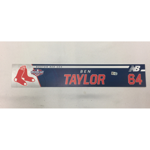 Photo of Ben Taylor Game Used April 3, 2017 Opening Day Locker Tag