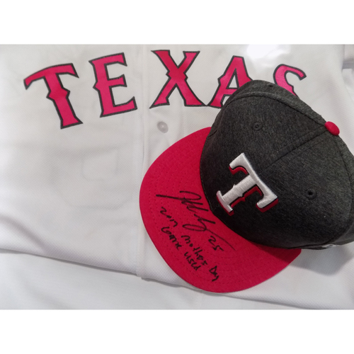 """Photo of Jonathan Lucroy Autographed Commemorative Mother's Day Game-Used Cap Inscribed with """"2017 Mother's Day Game-Used"""" Auctioned To Benefit Jonathan Lucroy Breast Cancer Research Effort"""