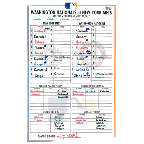 Photo of Game Used Lineup Card - Lugo Start; Cespedes Goes 4-5 With a Home Run and 3 Runs Scored; Bruce Goes 3-4 - Mets vs. Nationals - 6/17/17