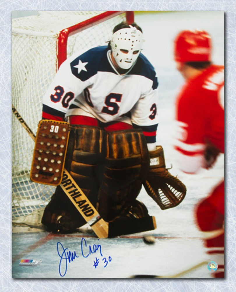 Jim Craig 1980 Olympic Miracle On Ice Autographed 16x20 Action Photo