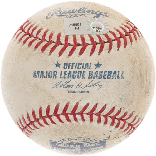 Photo of Game-Used Baseball from Manny Machado's 1st Career Homerun Game