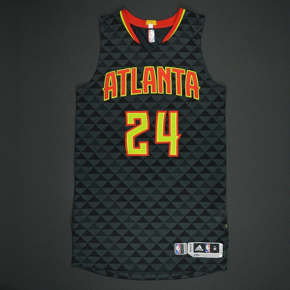Kent Bazemore - Atlanta Hawks - Black Playoffs Game-Worn Jersey - 2016-17 Season