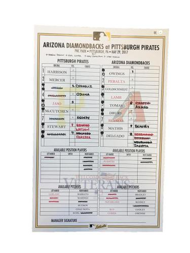 Photo of Replica Lineup Card from Pirates vs. Diamondbacks on 5/29/17 - Memorial Day