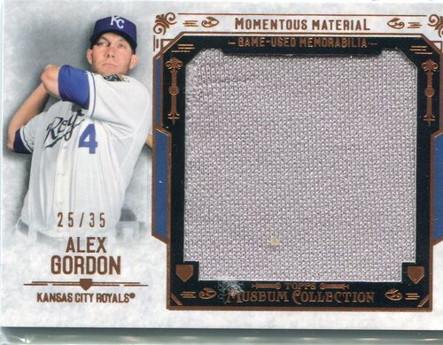 Photo of 2015 Topps Museum Collection Momentous Material Jumbo Relics Copper  Alex Gordon 25/35