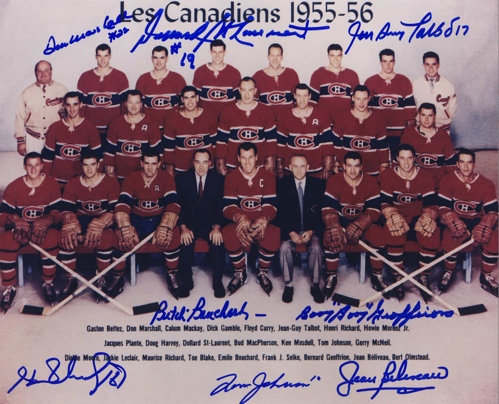 1955-56 Montreal Canadiens MULTI-SIGNED 8x10 Team Photo *8 AUTOGRAPHS**GEOFFRION,H.RICHARD,ETC*
