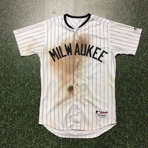 Photo of Eric Sogard 2017 Milwaukee Bears Game-Used Jersey - Doubles, Scores GW-Run on Wild Pitch
