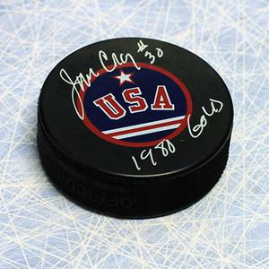 Jim Craig Team USA Autographed Olympic Hockey Puck W/ 1980 Gold Inscription