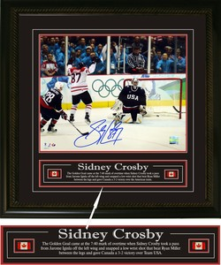 Sidney Crosby - Signed & Framed 16x20 Etched Mat - Pittsburgh Penguins - Blue Jersey Faceoff
