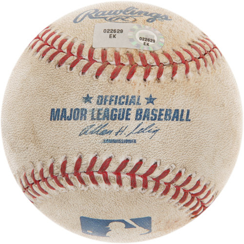 Photo of Game-Used Baseball from Giancarlo Stanton's 100th Career Homerun Game