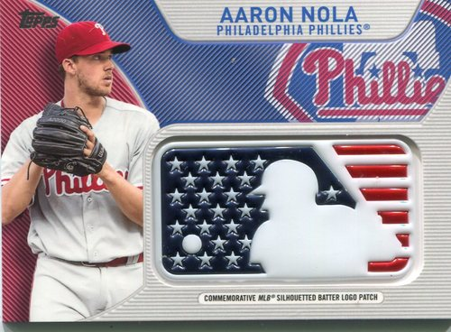 Photo of 2017 Topps Independence Day MLB Logo Patch #IDMLAN Aaron Nola