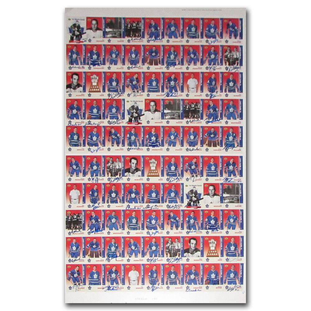 1967 Toronto Maple Leafs Autographed Uncut Card Sheet - 3 Complete Sets with Tons of Signatures.