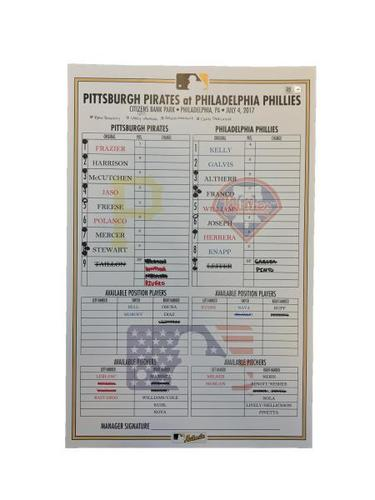 Photo of Replica Lineup Card from Pirates vs. Phillies on 7/4/17 - McCutchen 2 HRs