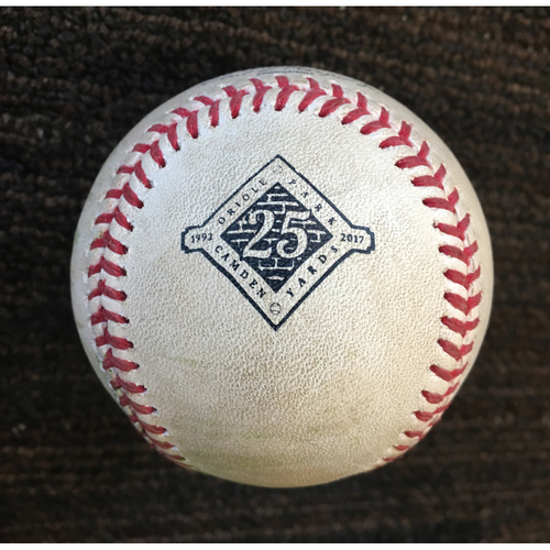 Photo of Tim Beckham Single and Manny Machado Foul: Game-Used