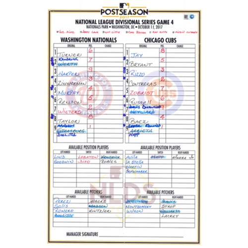 Photo of Game-Used Lineup Card -- NLDS Game 4 -- Nationals vs. Cubs -- 10/11/17