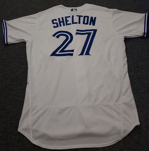 Photo of Authenticated Game Used Jersey - #27 Derek Shelton. July 28, 2017. Size 48.