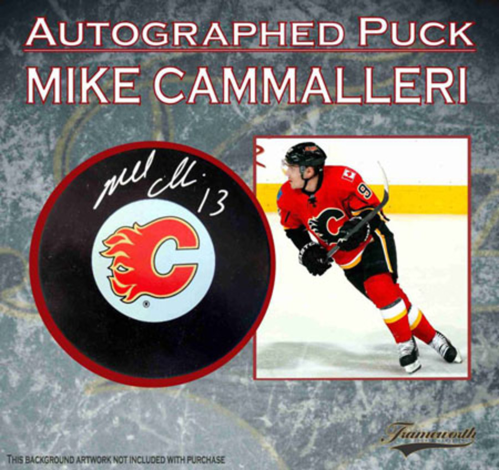 Signed Mike Cammalleri Calgary Flames Hockey Puck