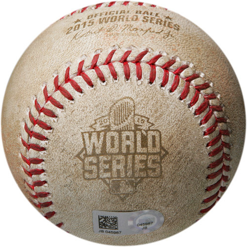 Photo of MLB Postseason Archive Auction: 2015 World Series Game 1 - Batter - Paulo Orlando, Pitcher - Bartolo Colon, Bottom of 12th, Infield Single to Third Base