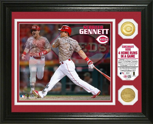 Photo of Serial #1! Scooter Gennett 4 Home Runs Bronze Coin Photo Mint