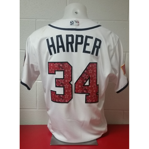 Photo of Game-Used Stars & Stripes Jersey: Bryce Harper - Used on 7/3 & 7/4/2017
