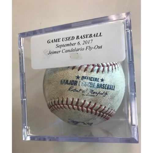 Photo of Game-Used Baseball: Jeimer Candelario Fly-Out