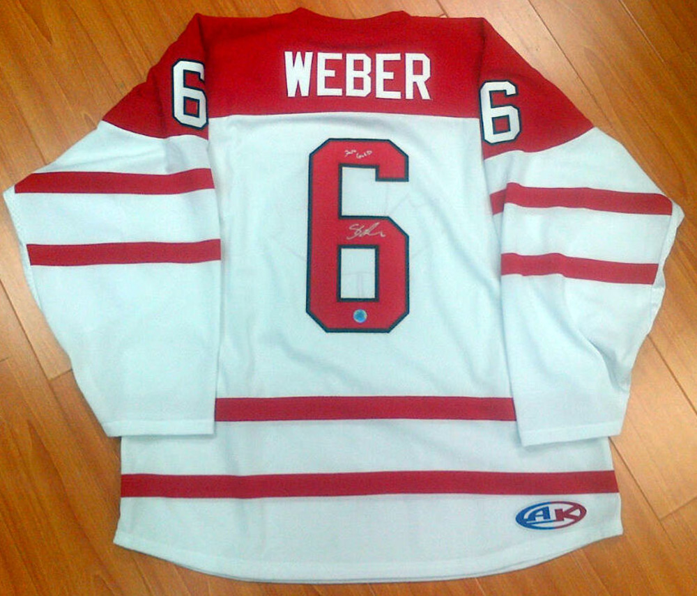 SHEA WEBER Team Canada AUTOGRAPHED Athletic Knit Hockey Jersey w/ *2010 Gold* Inscription