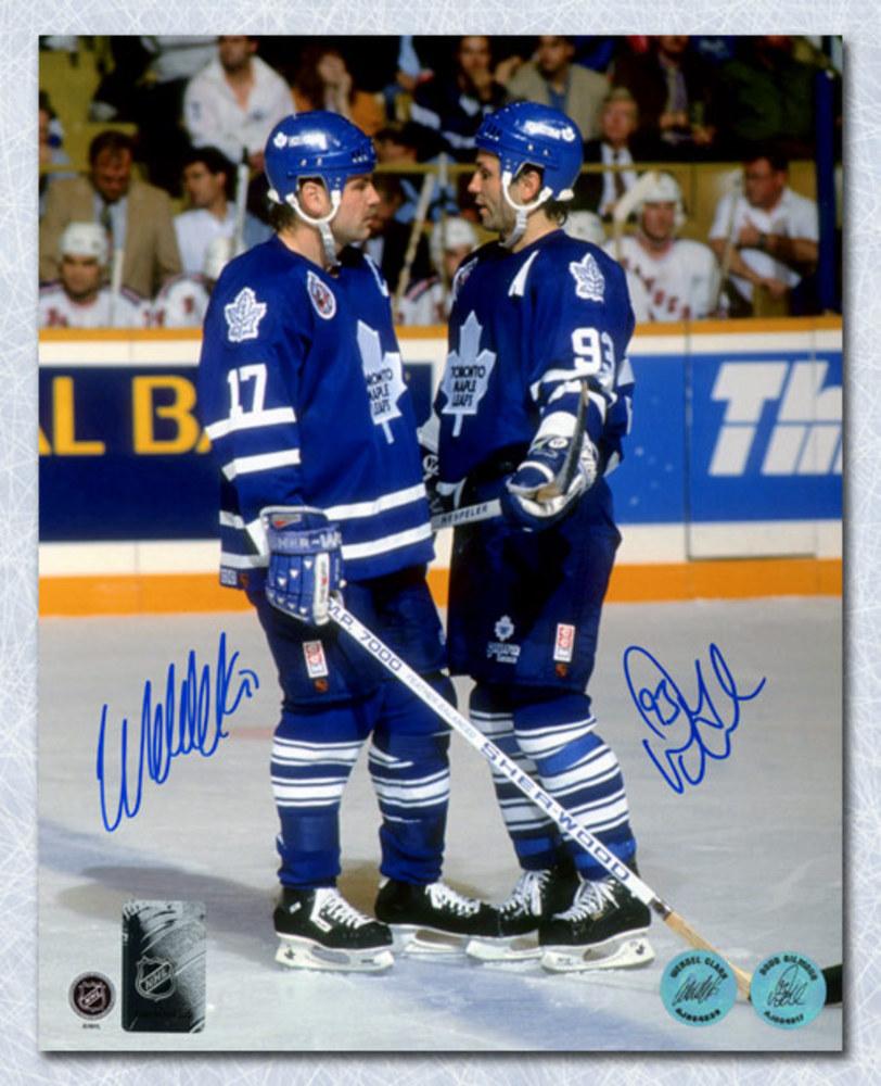 Doug Gilmour & Wendel Clark Toronto Maple Leafs Dual Signed On Ice 8x10 Photo