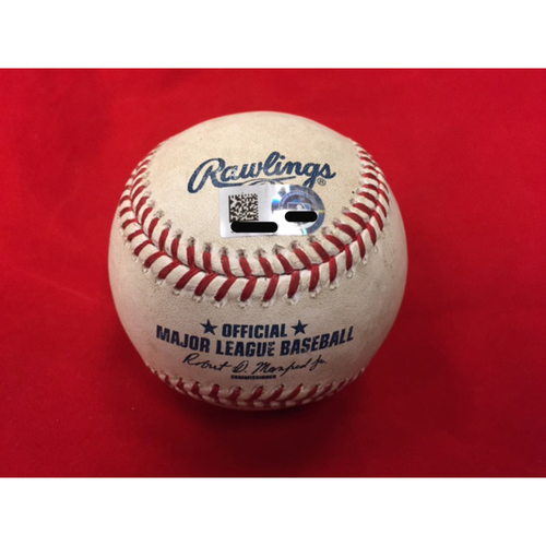 Photo of Jesse Winker -- Game-Used Baseball from First Career At-Bat in MLB Debut -- MIL vs. CIN on April 14, 2017