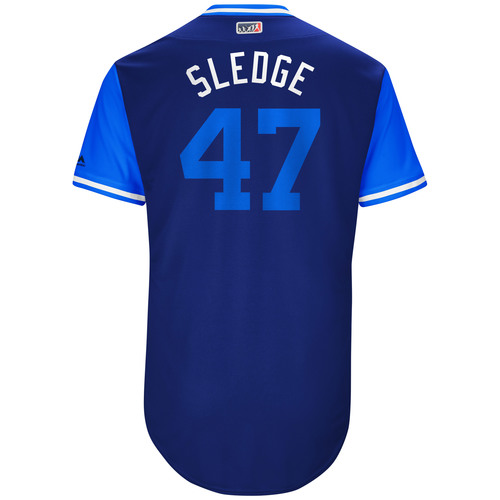 "Photo of Peter ""Sledge"" Moylan Kansas City Royals Game-Used Players Weekend Jersey"