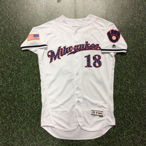 Photo of Eric Sogard 2017 Stars and Stripes Game-Used Jersey
