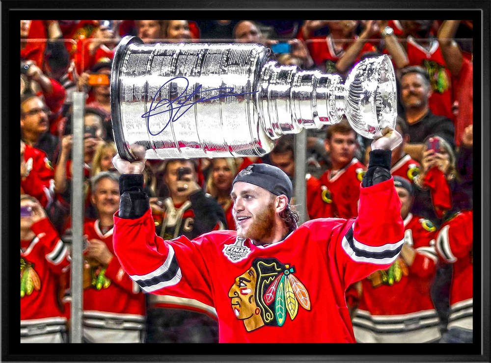 Patrick Kane - Signed & Framed 20x29 Canvas - Chicago Blackhawks 2015 Raising Cup