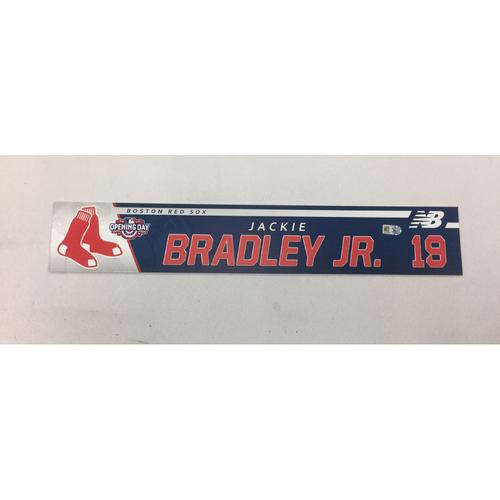Photo of Jackie Bradley Jr Game Used April 3, 2017 Opening Day Locker Tag