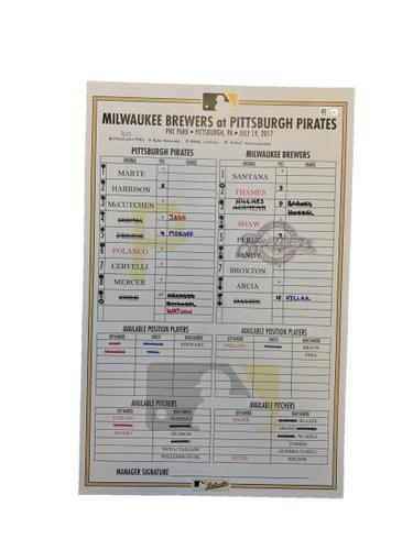 Photo of Replica Lineup Card from Pirates vs. Brewers on 7/19/17 - Moroff Walk-Off Single