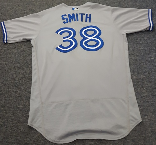Photo of Authenticated Game Used Jersey - #38 Joe Smith. April 6, 2017: 0.1 IP with 1 Hit, 1 Walk and 1 ER. Size 46.
