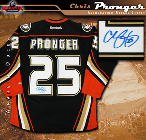 CHRIS PRONGER Signed Anaheim Ducks Alternate Black Reebok Jersey