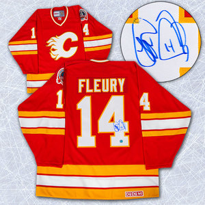 Theo Fleury Calgary Flames Autographed 1989 Stanley Cup Retro CCM Jersey