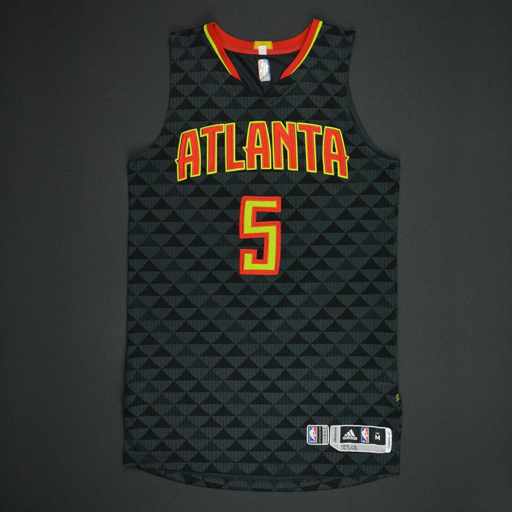 Malcolm Delaney - Atlanta Hawks - Black Playoffs Game-Worn Jersey - Dressed, Did Not Play - 2016-17 Season