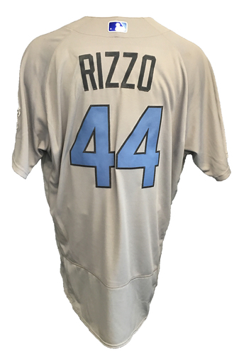 Photo of Anthony Rizzo Game-Used Father's Day Jersey -- Cubs vs Pirates -- 2 for 4 -- 6/17/17