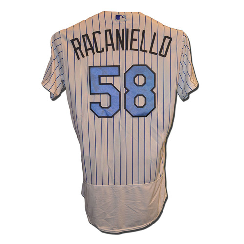 Photo of Dave Racaniello #58 - Game Used Father's Day Jersey - Mets vs. Nationals - 6/18/17