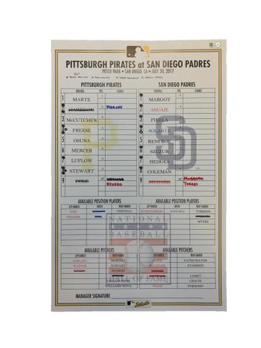 Photo of Replica Lineup Card from Pirates vs. Padres on 7/30/17