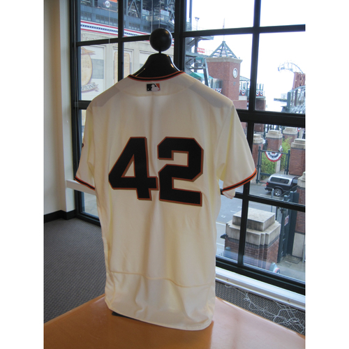 Photo of San Francisco Giants - Game Used - Jackie Robinson Day #42 Jersey - Ty Blach