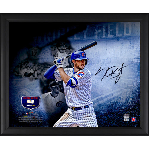 "Photo of Kris Bryant Chicago Cubs Framed Autographed 16"" x 20"" Collage Photograph with a Piece of Game-Used 2015 Rookie Season Baseball. #1 In a Limited Edition of 150."