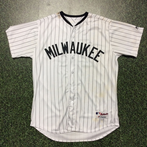 Photo of Jesus Aguilar 2017 Milwaukee Bears Game-Used Jersey