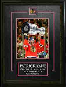 Patrick Kane - Signed & Framed 8x10 Etched Mat - Chicago Blackhawks 2015 Raising the Cup