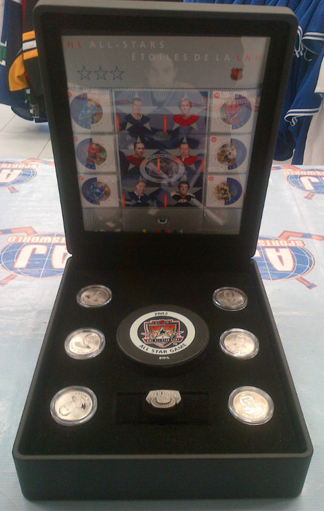2002 NHL ALL-STARS Commemorative Medallions & Stamp Set *LIMITED EDITION* *HALL, HORTON, KELLY, MORENZ, LAFLEUR, ESPOSITO*