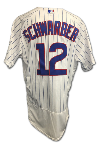 Photo of Kyle Schwarber 2017 Postseason Game-Used Jersey -- 10/9 vs. Nationals: NLDS Game 3 -- 10/18 vs. Dodgers: NLCS Game 4
