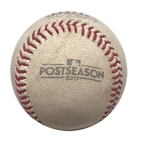Photo of Game-Used Baseball -- NLCS Game 3 -- Kyle Hendricks to Chris Taylor, Top 1, First Pitch of the Game -- Dodgers vs. Cubs -- 10/17/17
