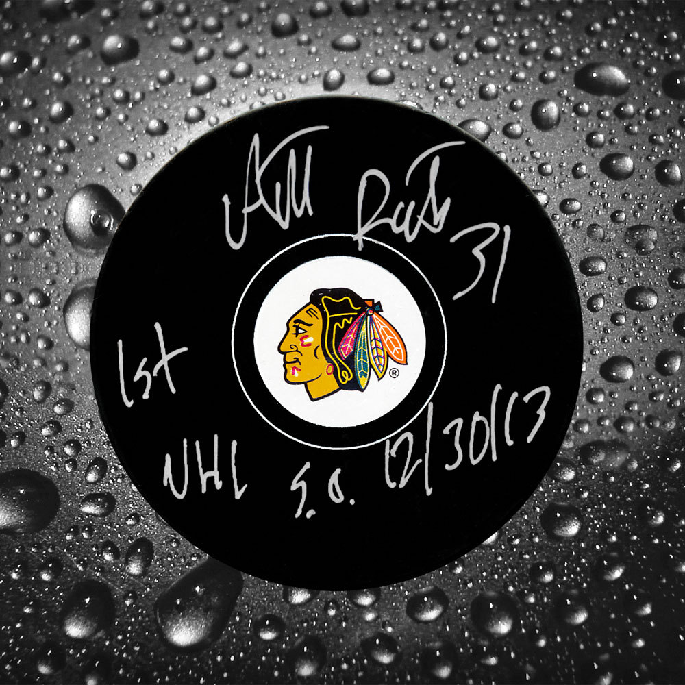 Antti Raanta Chicago Blackhawks 1st NHL SO 12/30/13 Autographed Puck